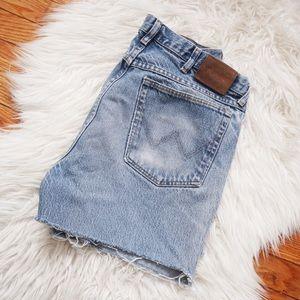Vintage Wrangler Cut Off Jean Shorts Light Wash